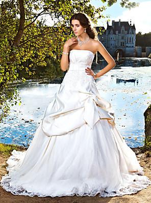 Lanting Bride® De Baile Pequeno / Tamanhos Grandes Vestido de Noiva - Clássico e atemporal / Elegante e Luxuoso Cauda CapelaTomara que