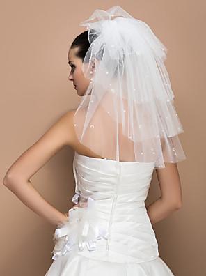 """הינומות חתונה חמש שכבות צעיפי כתף חיתוך קצה 19.69 אינץ' (50 ס""""מ) טול שנהב קו A, שמלת נשף, נסיכה, חצוצרה / בת הים, נדן / טור"""