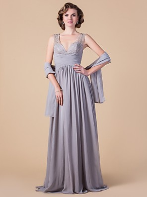 A-line Plus Size / Petite Mother of the Bride Dress - Wrap Included Floor-length Sleeveless Chiffon with Beading / Draping / Criss Cross