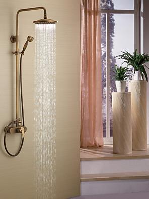 アンティーク調 シャワーシステム レインシャワー / ハンドシャワーは含まれている with  セラミックバルブ シングルハンドル三穴 for  アンティーク真鍮 , シャワー水栓
