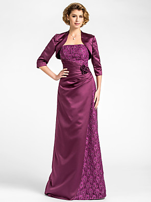 Sheath / Column Plus Size / Petite Mother of the Bride Dress - Wrap Included Floor-length 3/4 Length Sleeve Lace / Satin withBeading /