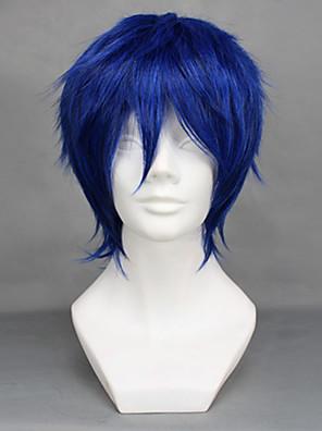 פאות קוספליי Vocaloid Kaito כחול קצרה אנימה / משחקי וידאו פאות קוספליי 32 CM סיבים עמידים לחום זכר