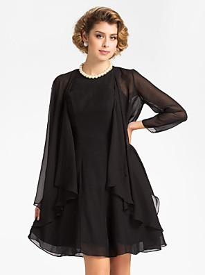 כורכת חתונה מעילים / מעילים אורך שרוול 3/4 שיפון שחור חתונה / מסיבה / ערב חולצת טי פתח חזית
