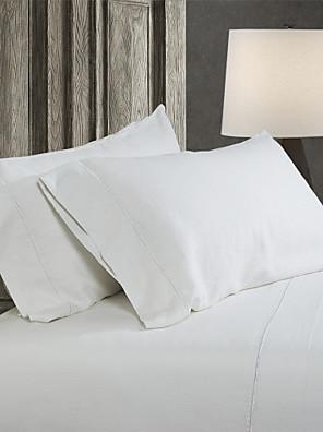 simple&opulence® 2-pack pudebetræk sæt, 100% hør solid hvid