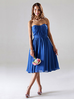 Lanting Bride® Over de knie Chiffon Bruidsmeisjesjurk - A-lijn / Prinses Strapless / Hartvormig Grote maten / Petite metDrapering /