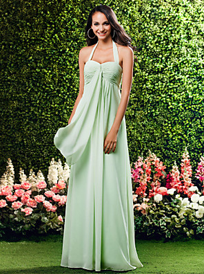 Floor-length Chiffon Bridesmaid Dress Sheath / Column Halter / Sweetheart Plus Size / Petite with Criss Cross