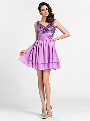 TS Couture® Cocktail Party / Prom / Sweet 16 Dress - Sparkle & Shine Plus Size / Petite A-line / Princess V-neck / Straps Short / Mini Chiffon