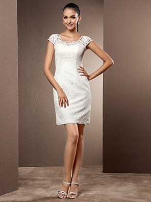 Lanting Bride® מעטפת \ עמוד קטן / מידה גדולה שמלת כלה - שיק ומודרני / זוהר ודרמטיות / לקבלת פנים שמלות לבנות קטנות קצר \ מיני מחשוף עמוק