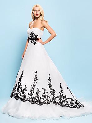 Lanting Bride® De Baile Pequeno / Tamanhos Grandes Vestido de Noiva - Chique e Moderno / Elegante e Luxuoso Vestidos Noiva de CorCauda