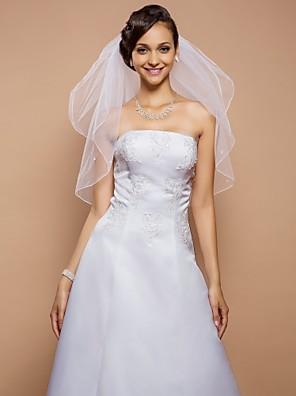 """הינומות חתונה שתי שכבות צעיפי מרפק קצה עפרון 31.5 אינץ' (80 ס""""מ) טול לבן קו A, שמלת נשף, נסיכה, חצוצרה / בת הים, נדן / טור"""