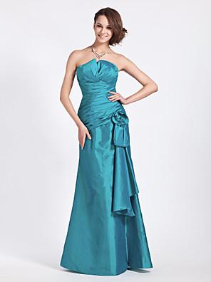 Lanting Bride® עד הריצפה טפטה שמלה לשושבינה  בתולת ים \ חצוצרה סטרפלס / וי קטן פלאס סייז (מידה גדולה) / פטיט עםפרח(ים) / בד נשפך בצד /