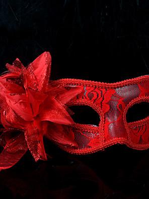 Máscara Fantasias Festival/Celebração Trajes da Noite das Bruxas Vermelho / Branco / Preto Cor Única / Rendas MáscaraDia Das Bruxas /