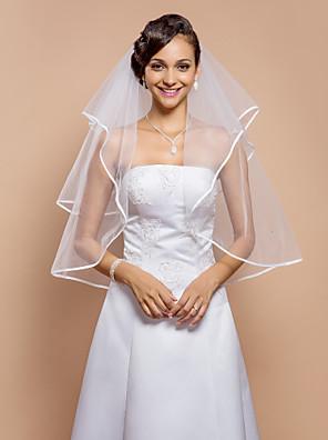 """הינומות חתונה שתי שכבות צעיפי מרפק קצה סרט 31.5 אינץ' (80 ס""""מ) טול לבן קו A, שמלת נשף, נסיכה, חצוצרה / בת הים, נדן / טור"""