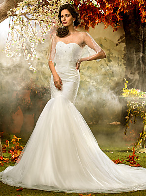 Lanting Bride® Justo & Evasê Pequeno / Tamanhos Grandes Vestido de Noiva - Clássico e atemporal / Elegante e LuxuosoVestidos de Casamento