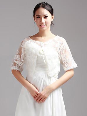 Wraps casamento Casacos / Jaquetas Meia Manga Renda Branco Casamento / Festa / Casual Camiseta Lantejoula Pulôver