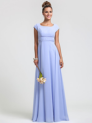 Floor-length Chiffon Bridesmaid Dress Sheath / Column Square Plus Size / Petite with