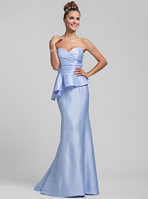 שובל סוויפ \ בראש טפטה שמלה לשושבינה  בתולת ים \ חצוצרה מחשוף לב פלאס סייז (מידה גדולה) / פטיט עם קפלים / בד נשפך בצד
