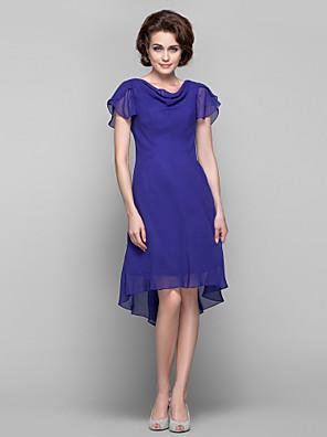 שמלה מעטפת \ עמוד ברדס באורך  הברך / א-סימטרי שיפון עם בד נשפך בצד / סיכה מקריסטל
