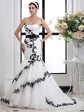 Lanting Bride® צמוד ומתרחב קטן / מידה גדולה שמלת כלה - שיק ומודרני / אלגנטי ויוקרתי בהשפעת וינטאג' / שמלות חתונה צבעוניות שובל קורטמחשוף