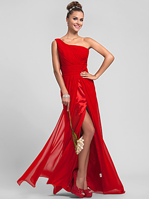 Floor-length Chiffon Bridesmaid Dress Sheath / Column One Shoulder Plus Size / Petite with Split Front / Criss Cross / Ruching