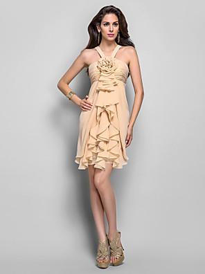 드레스 - 짧은 시스 / 칼럼 홀터 넥 숏 / 미니 쉬폰 와 플라워 / 루시 주름 장식 / 캐스케이드 주름장식