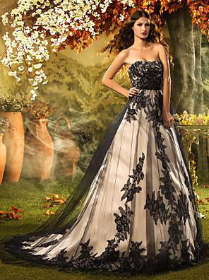 Lanting Bride A-line / Princess Petite Wedding Dress-Court Train Strapless Lace / Tulle