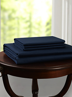 eenvoudig&opulence® vlakke plaat, 300 tc 100% katoen stevige donkerblauw