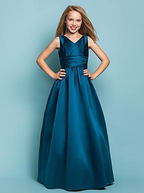 Lanting Bride® עד הריצפה סאטן שמלה לשושבינות הצעירות  גזרת A / נסיכה צווארון וי טבעי עם סרט / בד בהצלבה