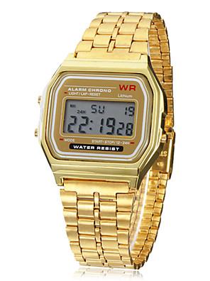 Heren Polshorloge Digitaal LCD / Kalender / Chronograaf / alarm Legering Band Goud Merk-