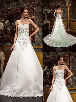 Lanting Bride® A-Linie Drobná / Nadměrné velikosti Svatební šaty - Klasické & nadčasové / Okouzlující & dramatické RetroExtra dlouhá
