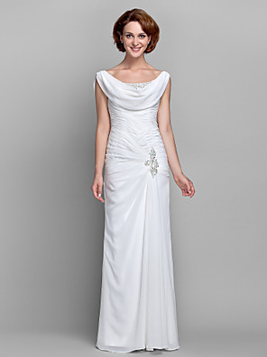 Sheath / Column Plus Size / Petite Mother of the Bride Dress Floor-length Sleeveless Chiffon withBeading / Buttons / Crystal Detailing /