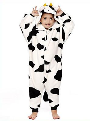 Kigurumi Pyžama Kráva Leotard/Kostýmový overal Festival/Svátek Animal Sleepwear Halloween Černá/bílá Patchwork Flanel Kigurumi Pro Dítě