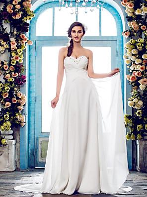Lanting Bride® A-line Petite / Plus Sizes Wedding Dress - Classic & Timeless / Elegant & Luxurious Sweep / Brush Train Sweetheart Chiffon
