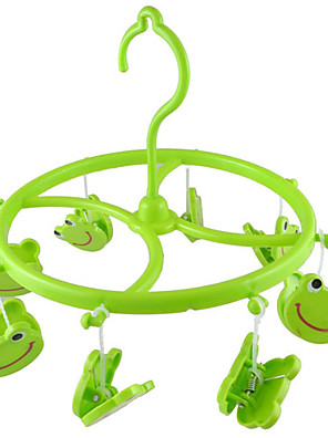 Grøn plastik 8 Smile Frog Clips Runde Shell Tørklæde Håndklæde Handsker Hængende tøj pind