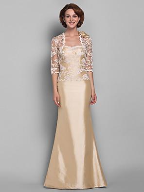 Lanting Bride® Sereia Tamanhos Grandes / Mignon Vestido Para Mãe dos Noivos - Bolero Incluso Longo Meia Manga Renda / Tafetá - Renda