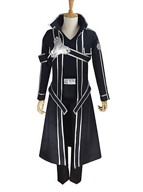 Inspirado por Sword Art Online Kirito Anime Fantasias de Cosplay Ternos de Cosplay Cor Única Preto Manga CompridaCasaco / Japonesa/Curta