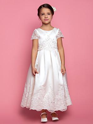 Lanting Bride A-Linie / Princess Po kotníky Šaty pro květinovou družičku - Satén Krátký rukáv Klenot s Aplikace / Korálky / Nabírání