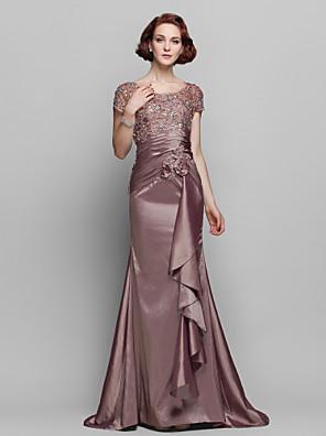 Lanting Bride® Mořská panna Větší velikosti / Malé Šaty pro matku nevěsty - Průsvitný Dlouhá vlečka Krátký rukáv Krajka / Taft - Korálky