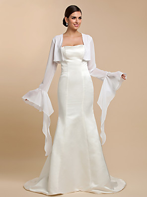 Wedding  Wraps Coats/Jackets Long Sleeve Chiffon White Wedding / Party/Evening / Casual T-shirt Open Front