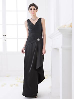 Lanting Bride® עד הריצפה סאטן נמתח שמלה לשושבינה - מעטפת \ עמוד צווארון וי פלאס סייז (מידה גדולה) / פטיט עםבד בהצלבה / בד נשפך בצד /
