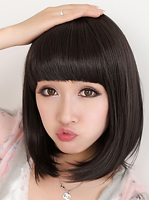 Dæksel Short Bob høj kvalitet syntetisk Natural Black Straight hår paryk Full Bang