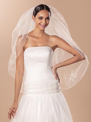 הינומות חתונה שתי שכבות צעיפי אצבע קצה עפרון טול שנהב קו A, שמלת נשף, נסיכה, חצוצרה / בת הים, נדן / טור