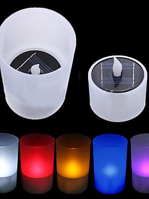 Solar Power LED Tea Light Tealight Candle Vlamloze Flickering Xmas Wedding (cis-57263)