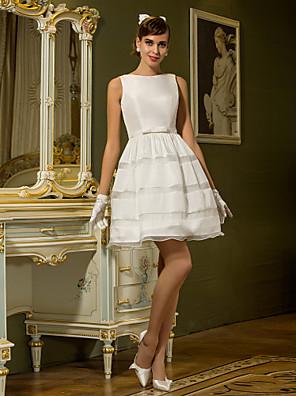 Lanting Bride A-line Petite / Plus Sizes Wedding Dress-Short/Mini Bateau Taffeta