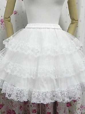 חצאית לוליטה קלאסית ומסורתית לוליטה Cosplay שמלות לוליטה לבן אחיד לוליטה אורך קצר חצאית ל נשים פוליאסטר