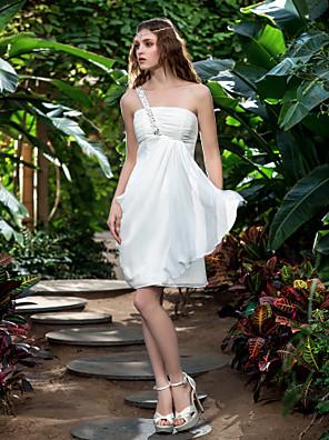 Lanting Bride® Tubinho Pequeno / Tamanhos Grandes Vestido de Noiva - Recepção Vestidos Brancos Justos Até os Joelhos Mula Manca Chiffon