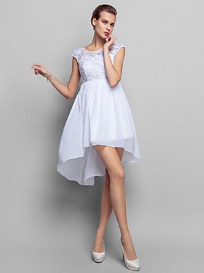 Coquetel / Reunião de Classe / Feriado Vestido - Assimétrico Tubinho Decote em U Curto / Mini Chiffon / Renda com