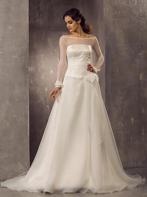 Lanting Bride® גזרת A / נסיכה קטן / מידה גדולה שמלת כלה - קלסי ונצחי / אלגנטי ויוקרתי שובל קורט מתחת לכתפיים אורגנזה / טול עם