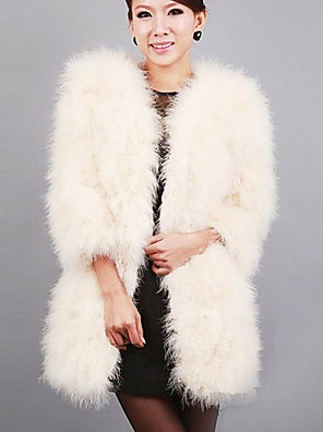hosszú ujjú gallér strucc szőrme party / esti kabát (több színben)
