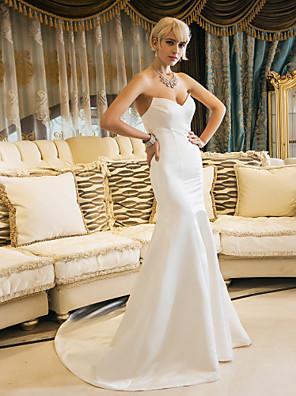 Lanting Bride® Sereia Pequeno / Tamanhos Grandes Vestido de Noiva - Elegante e Luxuoso Cauda Corte Coração Cetim com
